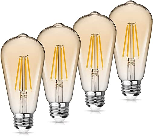Wawui Edison Led Light Bulbs Amber Dimmable 4w 60w Equivalent 2700k E26 Medium Base 500lm Warm White St64 Antique Vintage Style Light Squirrel Cage Filament Golden Glass 4 Pack Amazon Com