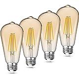 WAWUI Edison LED Light Bulbs, Amber, Dimmable, 4W=60W Equivalent, 2700K, E26 Medium Base, 500LM, Warm White ST64, Antique Vin