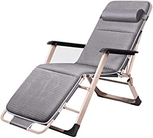 Lounger Relaxation Garden Outdoor Foldable Garden Chair Metal Foldable Sun Camping, Gray