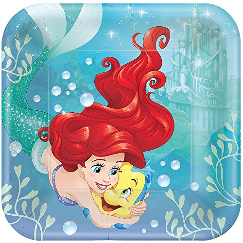 Ariel the Little Mermaid Sparkle Large Square Paper Plates (8ct)