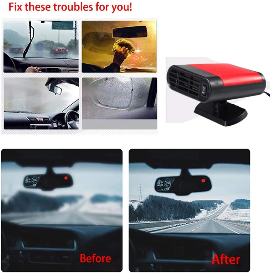 Red Portable Car Heater Car Defroster with Air Purification 12V 150W Auto Car 30 Seconds Fast Heating Defrost Defogger Demister Vehicle Ceramic Heater Fan for Windshield