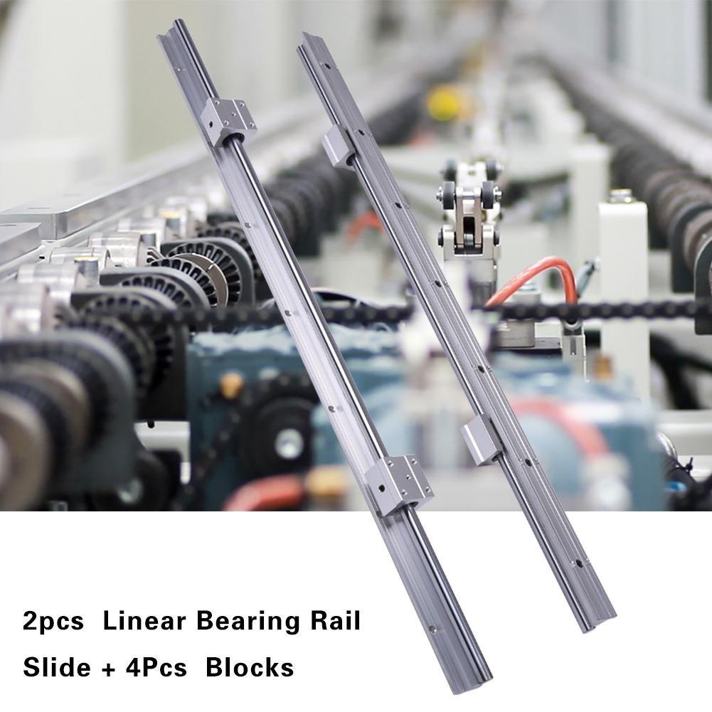 2 St/ück SBR12-700mm Linearlagerschiene mit 4 St/ück SBR12UU Gleitst/ück lineare Schiene Gleitset Set