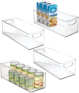 "mDesign X-Long Plastic Kitchen Pantry, Cabinet, Refrigerator, Freezer Food Storage Organizing Bin Basket with Handles - Organizer for Fruit, Vegetables, Yogurt, Snacks, Pasta - 6"" Wide, 4 Pack - Clear"