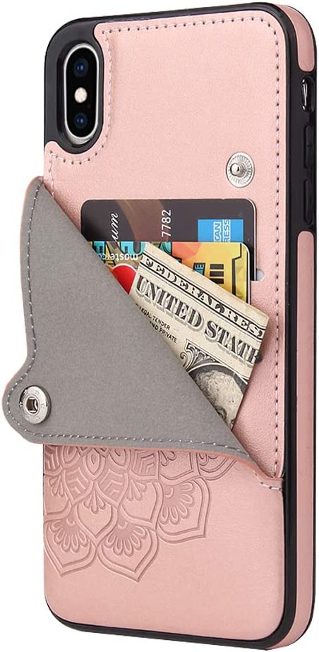Apucase iPhone Xs Case/iPhone X Case,X/Xs Wallet Case Credit Card Holder Case,Protective Cover with Card Slot and Slim Leather Case for iPhone X/Xs 5.8Inch (Rose Gold)
