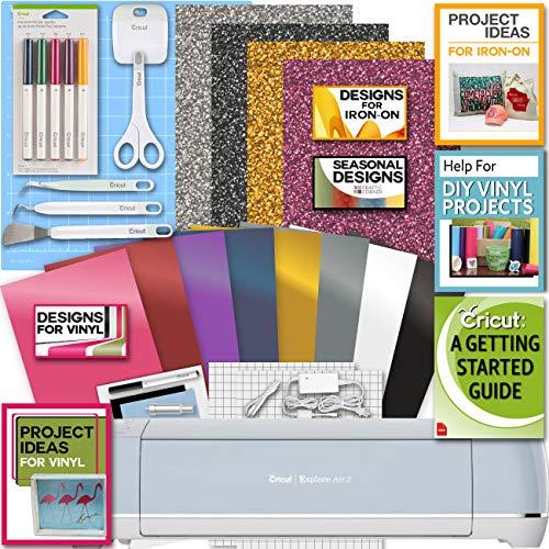 Cricut-Explore-Air-2-Blue-Machine-Bundle-Iron-On-Vinyl-Pack-Tools-Pen-Design-Guide