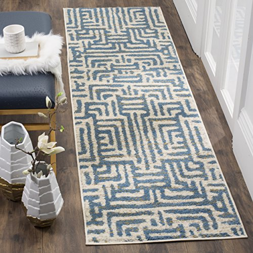 Safavieh Amsterdam Collection AMS106A Modern Abstract Ivory And Mauve Area Rug