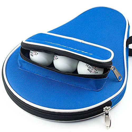 seemehappy Smart Table Tennis Racket Cover Case with Extra Ball Pocket Blue