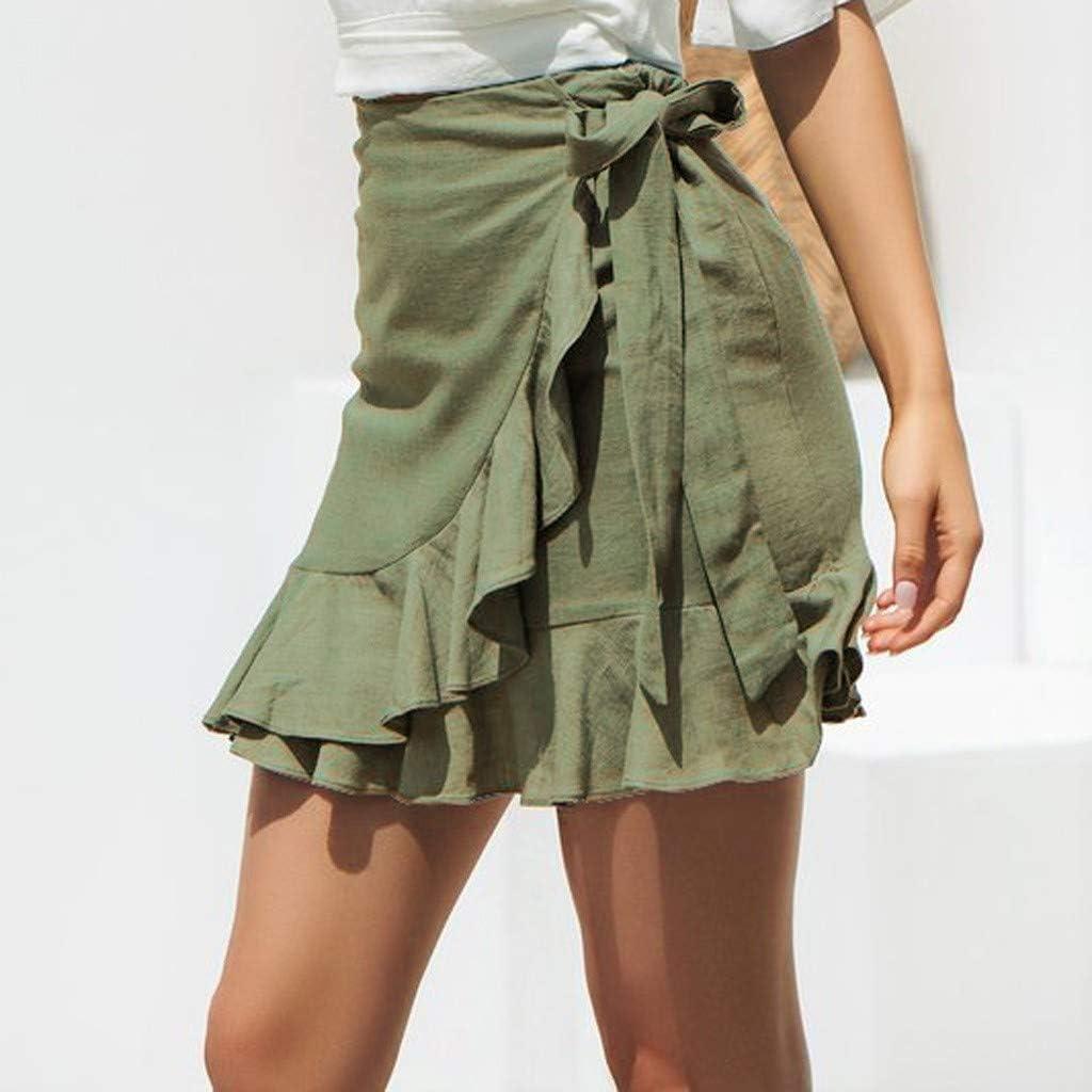 Suliflor Falda de Color Puro Vendaje,Encaje hasta Falda Corta A-Line Plisado,Falda de Verano de Playa,Falda Simple y Casual para Mujer