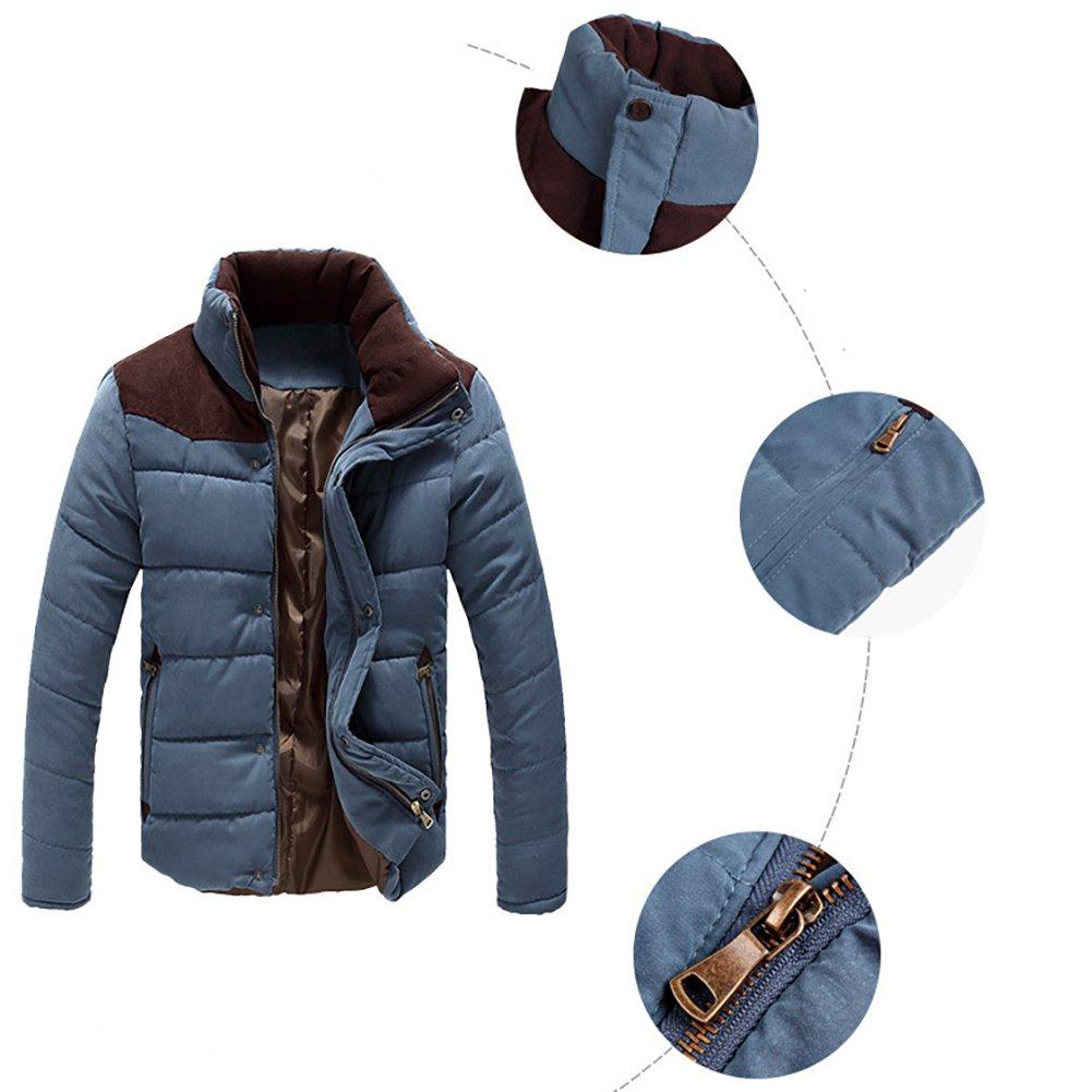 ZiXing Homme Hiver Chaud Manteaux Parka Manches Longues Jacket Courte Blouson Bleu Clair