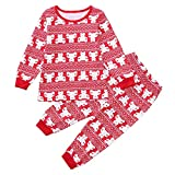 2PCS Christmas Children Clothes Set Long Sleeved Cartoon Deer Print Top+Pants Set Outfit Parajam (age:5-6 Years, Pink)