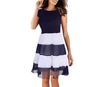 better-caress Chiffon Stripe Dress 2018 Ladies Women Summer Fashion O-Neck Striped Short Dress Casual Party Vestidos, XXL at Amazon Womens Clothing store: