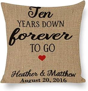 BYRON HOYLE 10 Years Down Cushion Cover,Forever to Go Throw Pillow Cover,Rustic Linen Decorative Lumbar Pillowcase for Chair Room Sofa car,Home Decor,Housewarming Gift 4545cm
