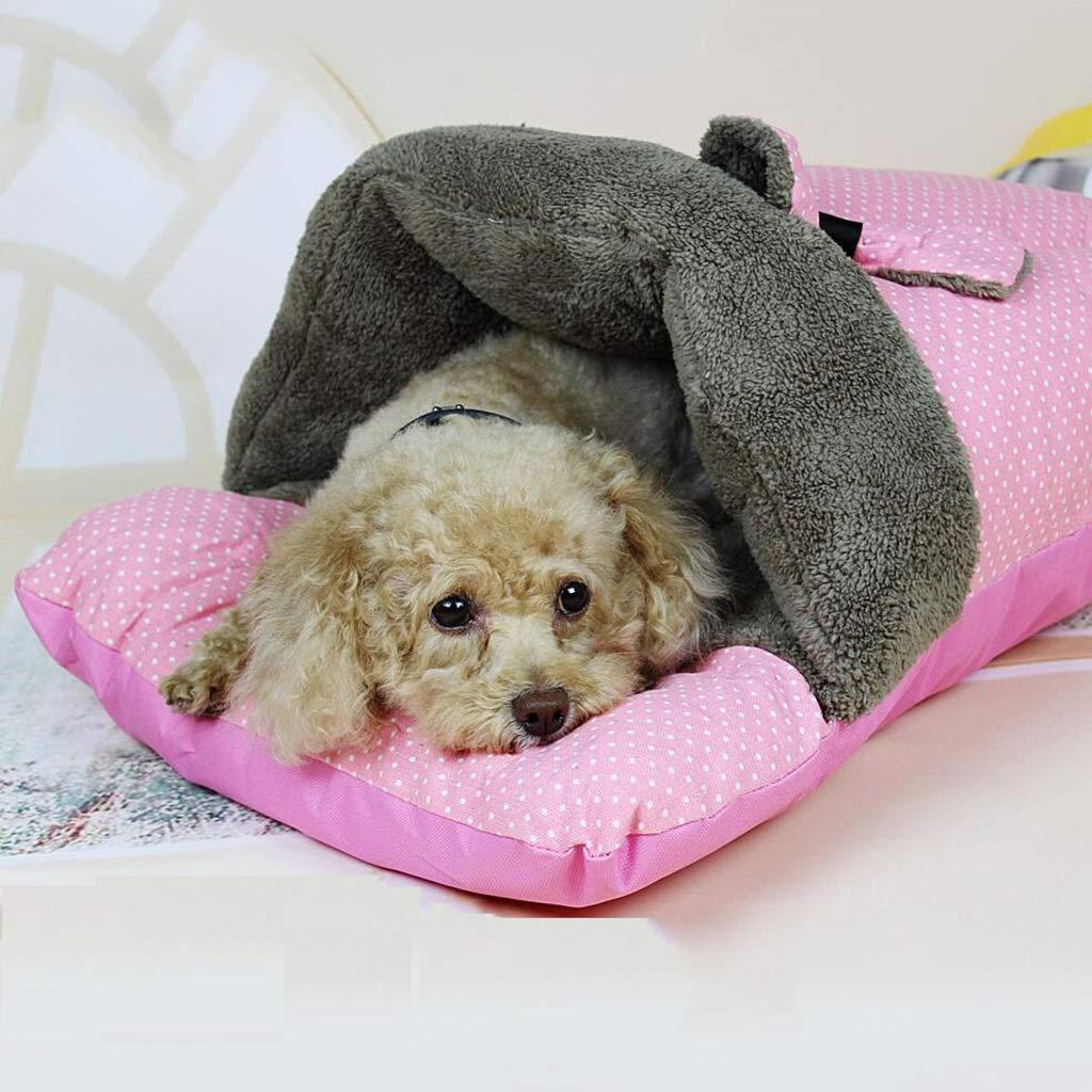 JUEJIDP Caldo d'inverno Nido per Animali Domestici Nido di Gatto Cuccioli VIP Sacco a Pelo Divano Materasso Addensare Pantofole Nido (colore   rosa)