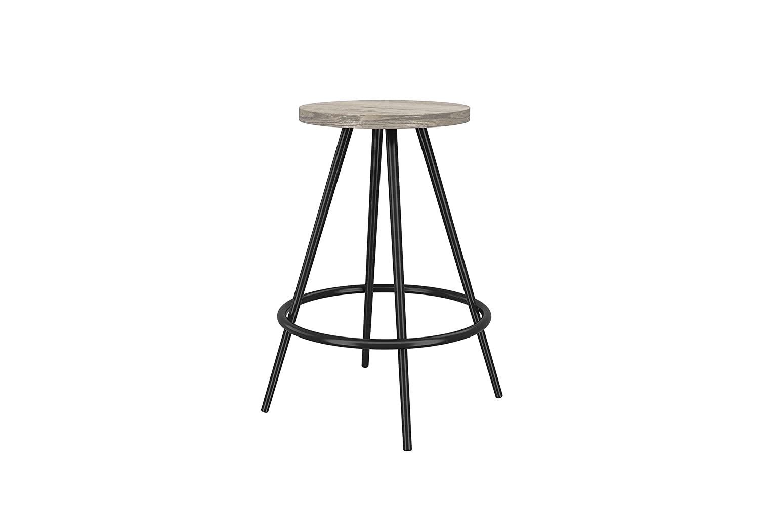 Novogratz Leo Farmhouse 29.5-Inch Bar Stool with Footrest, Rustic and Modern Style, Black Metal Frame with Grey Wood Seat S015101N