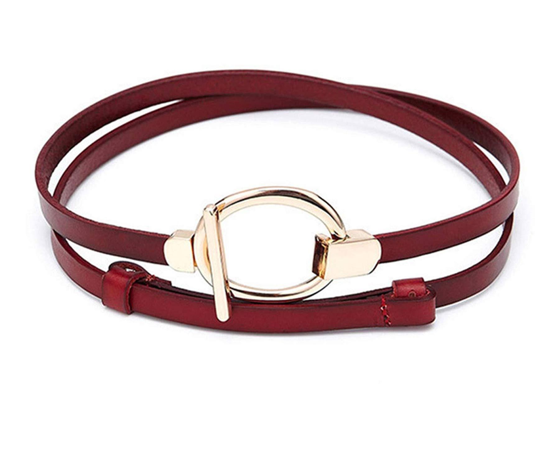 Beautface Makeup Fashion Gold Chain Belts Wedding Dress Belts Golden Round Buckle,100cm,Red