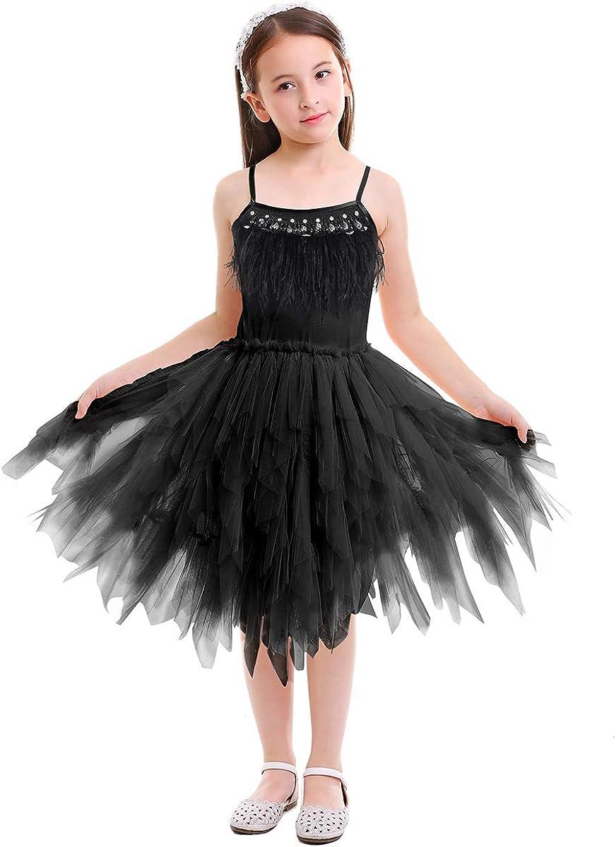 New Baby Girls Black Green Lace Webs Petals Tutu Skirt Gothic Fairy Princess