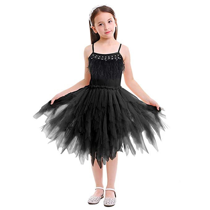 9099c288d7b3e Amazon.com: Girls Spaghetti Strap Feather Fringes Tutu Tulle Swan ...