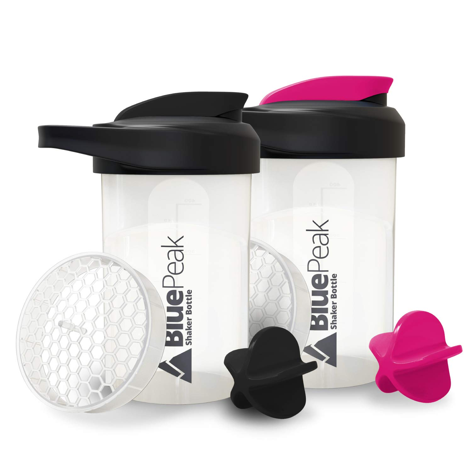 BluePeak Protein Shaker Bottle 20-Ounce, with Dual Mixing Technology. BPA Free, Shaker Balls & Mixing Grids Included (Black & Pink)