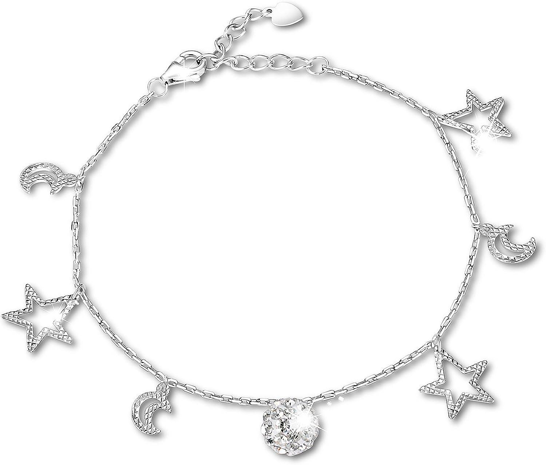 Plata de Ley scrodcat encanto pulsera de perlas de Luna y Estrellas joyas regalo para mujer y estrellas doble capa caja cadena pulsera de 8pulgadas para mujer amistad joyas regalo (luna estrellas)
