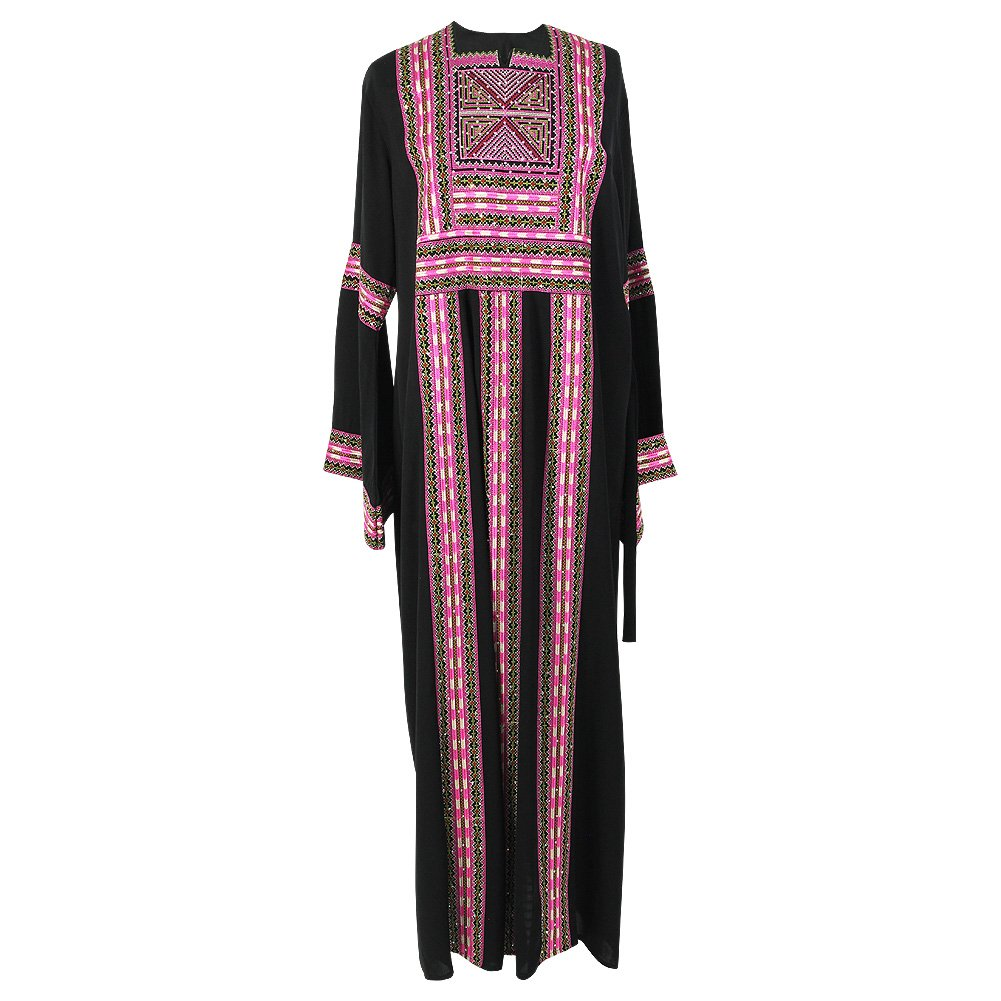 Black and Pink Full Body Embroidered with Pattern Design Abaya Size 3