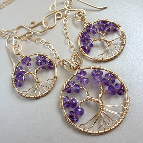 Amethyst Tree Of Life, Gold Jewelry Set, 4th Anniversary, February Birthstone, Aquarius Pisces by Rebellious Trees