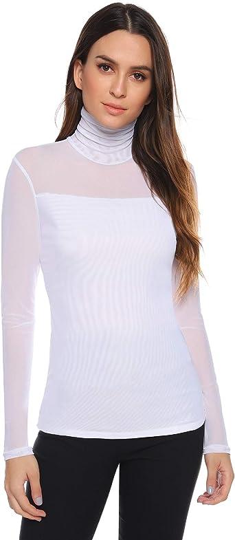 Femme Simple Manches Longues Extensibles Hi Polo Col Roulé haut T shirt 10 12 14