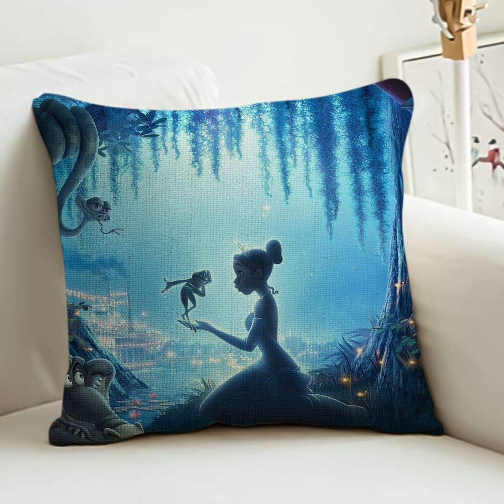 DISNEY COLLECTION Pillowcase Linen Bedding, The Princess and The Frog Fashion Cute Durable Sofa Square Pillowcase Decoration 1616 Inch