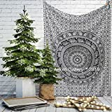 Black and White Twin Tapestry Hippie Wall Hanging Art Decor Single Mandala Tapestry Hippie Dorm 84X55 inches by Aakriti Gallery (Black White) (Kitchen)