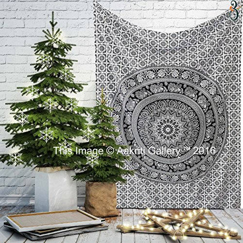 Black and White Twin Tapestry Hippie Wall Hanging Art Decor Single Mandala Tapestry Hippie Dorm 84X55 inches by Aakriti Gallery