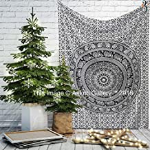 Black and White Twin Tapestry Flower Wall Hanging Art Decor Single Mandala Tapestry Hippie Dorm 84X55 inches by Aakriti Gallery