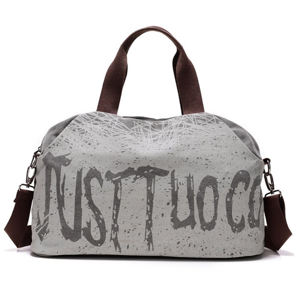 Canvas Letter Printing Handbags Tote Shopping Bag Shoulder Bags Women Sports Gym Fitness Bag Travel Duffel grey