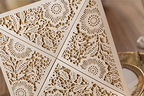 Wishmade 100X Square Laser Cut Wedding Invitations Kit With White Envelope and Envelope Seals Card Stock For Engagement Bridal Shower Birthday Baby Shower Party CW520_WH by Wishmade (Image #7)
