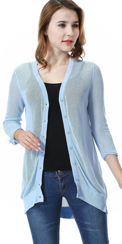 DUOFEIYA Women's Button Down Basic Soft Knit Cardigan Thin Sweater