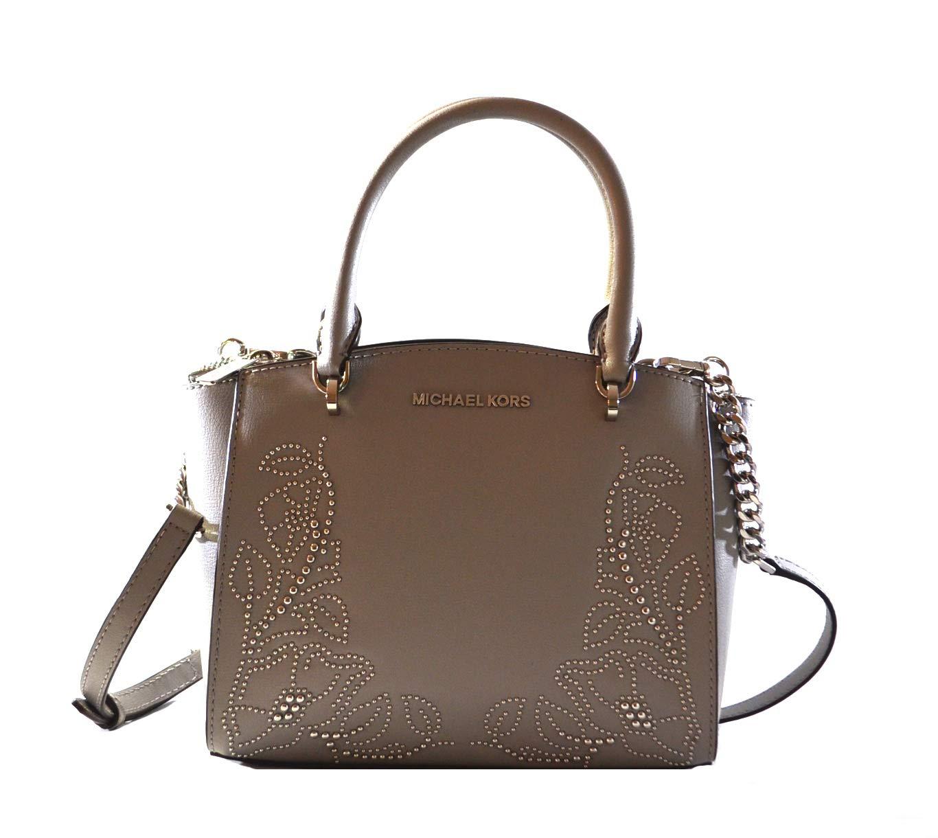 Michael Kors Women's Ellis Small Convertible Leather Gold Toned Studs Satchel Crossbody Bag Purse Handbag (Ash Grey)