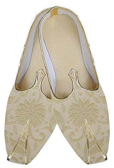 Mens Beige Indian Wedding Shoes Flower Design MJ0142