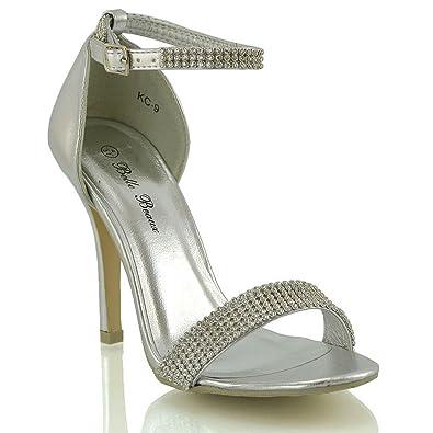 Essex Glam Womens Stiletto Ankle Strap Diamante Silver Metallic High Heel Party Sandals 5 B(