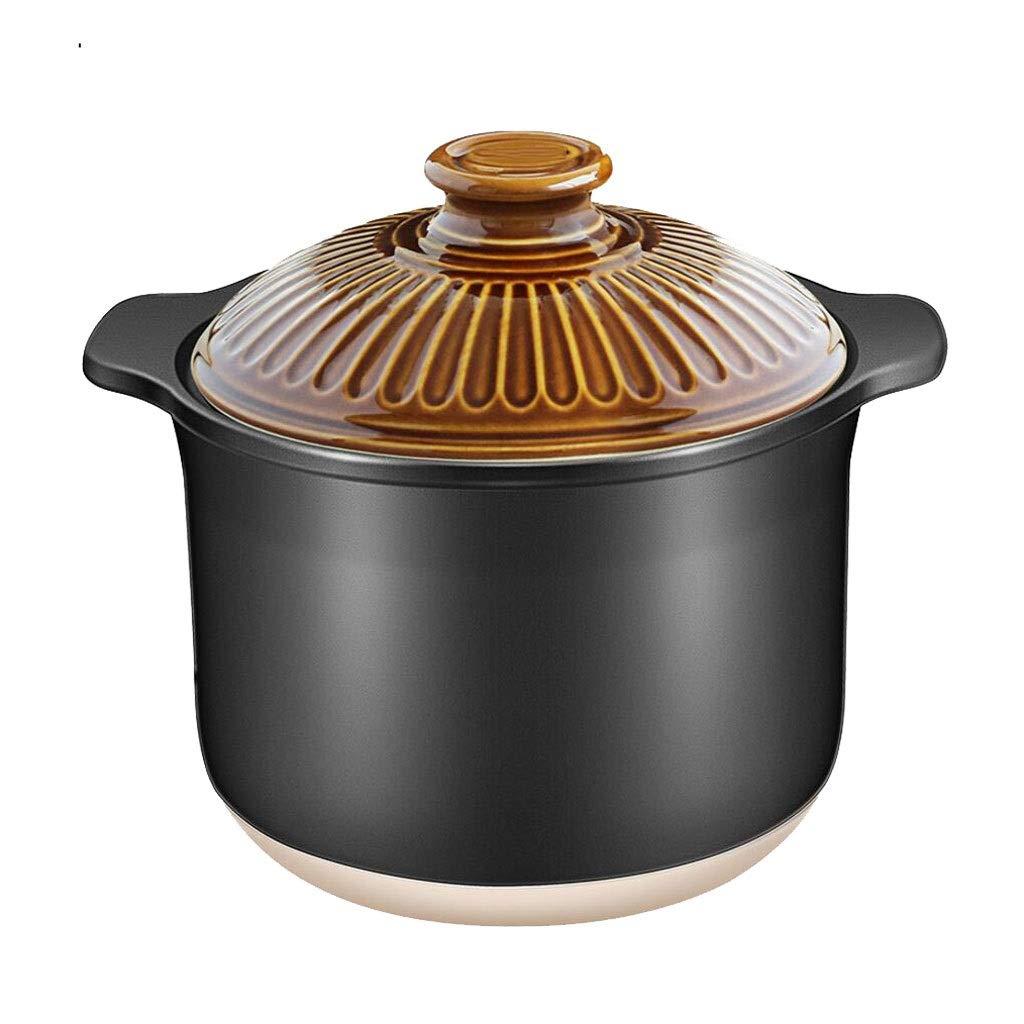 Large Capacity Casserole Ceramic High Temperature Health Soup Stew Pot Jar Open Flame Home Gas 2 Color MUMUJIN (color : Brown, Size : 3.5L)