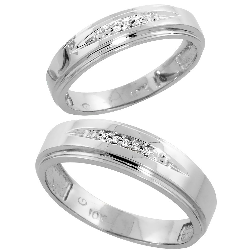 10k White Gold Diamond Wedding Rings Set for him 6 mm and her 5 mm 2-Piece 0.05 cttw Brilliant Cut, Ladies Size 5