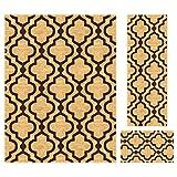 Cheap Kapaqua Rubber Backed 3-Piece Area Rug Set GOLD Moroccan Trellis Non-Slip Kitchen Living Dining Room | 18″x31″ – 20″x59″ – 5'x6'7″