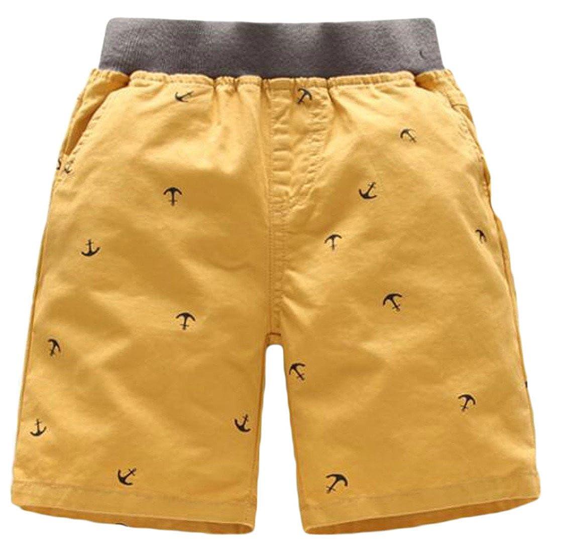 Fulok Boys Casual Elastic Waist Summer Cotton Print Splice Baggy Shorts Yellow 6X