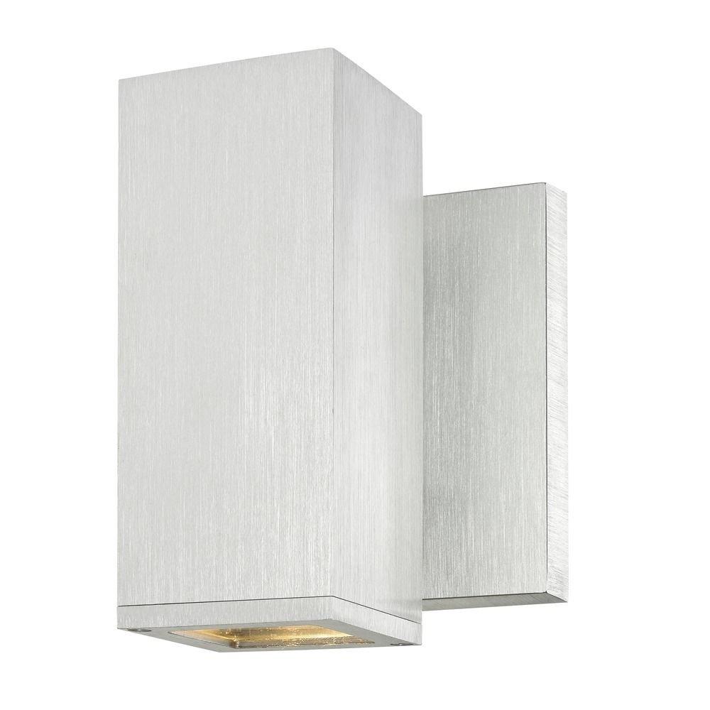 LED Square Cylinder Outdoor Wall Light Brushed Aluminum 3000K
