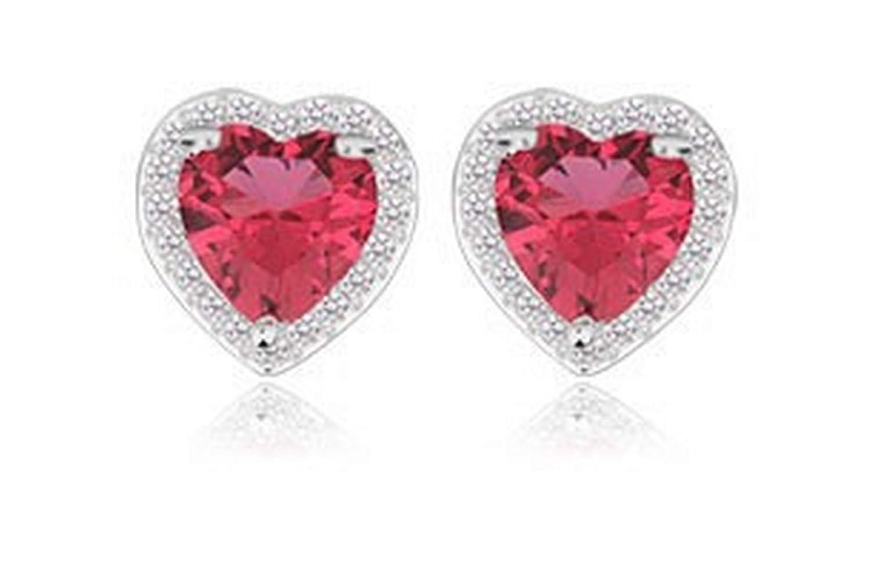 Silver Earrings By CS-DB Trendy Small Size Cute Love Heart Ruby CZ Stud Earrings For Womens