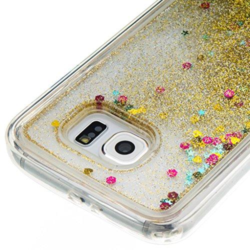 Trumpshop Smartphone Carcasa Funda Protección para Samsung Galaxy S5 + Atrapasueños + TPU 3D Liquido Dinámica Sparkle Estrellas Quicksand Resistente a arañazos Caja Protectora oro