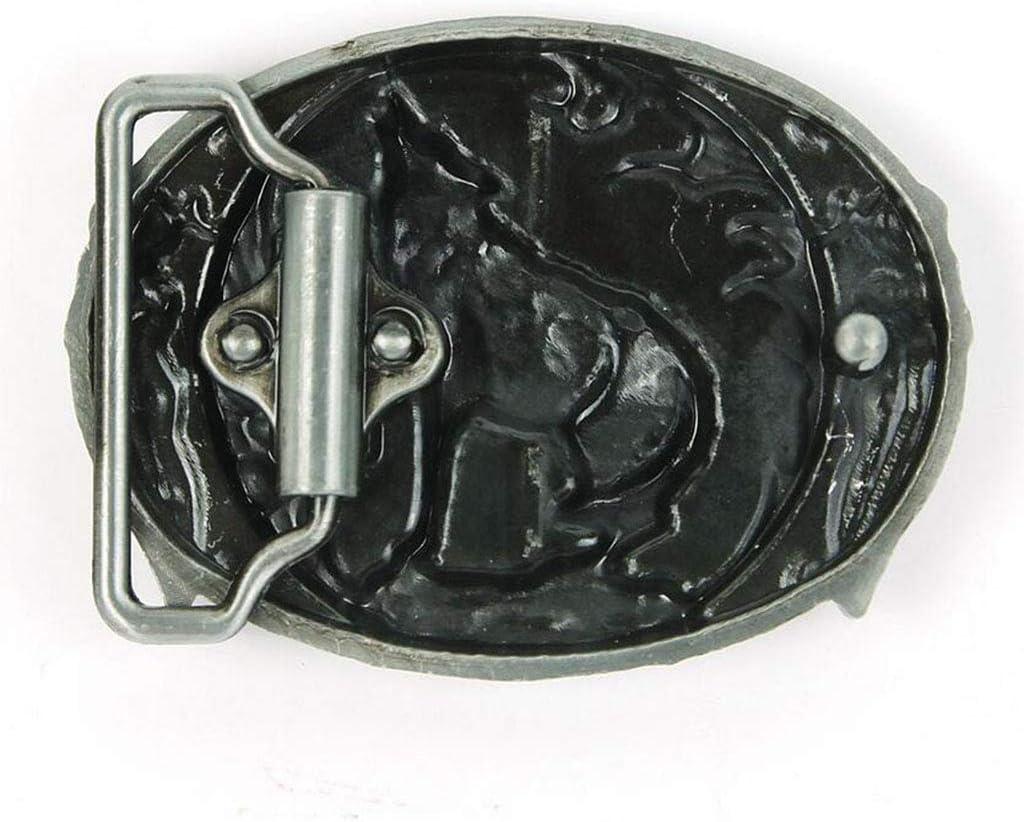 JINGJING West Cowboy Belt buckle Moonlight wolf Hip hop Retro Plate buckle With 4cm belt
