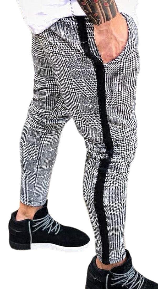 WSPLYSPJY Mens Basic Plaid Check Elastic Waist Zip Up Hip Hop Long Pants