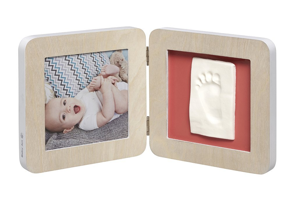 Baby Art My Baby Touch Photo Frame 2 Frames with Footprint Kit for Hand or Foot of the Newborn, White/Grey 34120050
