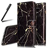 Galaxy S8 Plus Stand Case,Samsung Galaxy S8 Plus Wallet Case,Galaxy S8 Plus Flip Case,SKYMARS Samsung Galaxy S8 Plus 2017 Cover Marble Creative Design PU Leather Flip Kickstand Cards Slot Wallet Magnet Stand Case for Samsung Galaxy S8 Plus 2017 Black Gold Marble