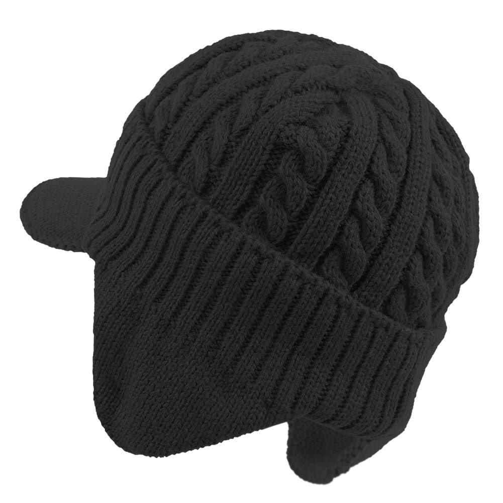 8b4b5fdf03197 Amazon.com  Janey Rubbins Winter Outdoor Sports Visor Beanie with Earflaps  Knit Ski Hat with Brim Fleece Lined Skull Cap (Black)  Clothing