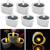 LED Velas, 6 Piezas Velas Solares Interior al Aire Libre Solar Tealights Impermeable Sin Llama Velas Luz Solar Tealights…