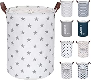 "FRIENDIY Large Laundry Hampers (9 Colors), Removable Laundry Basket, Foldable Fabric Laundry Basket, Drawstring Waterproof Round Cotton Linen Storage Basket. (Grey Star, Thickened 22""/X-Large)"